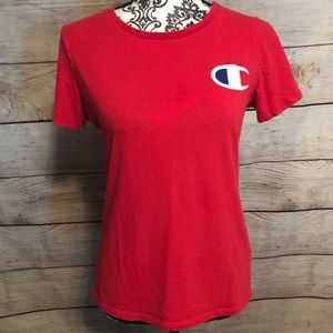 Champion Tops - LAST CHANCE Champion Size M Classic Logo Red Tee
